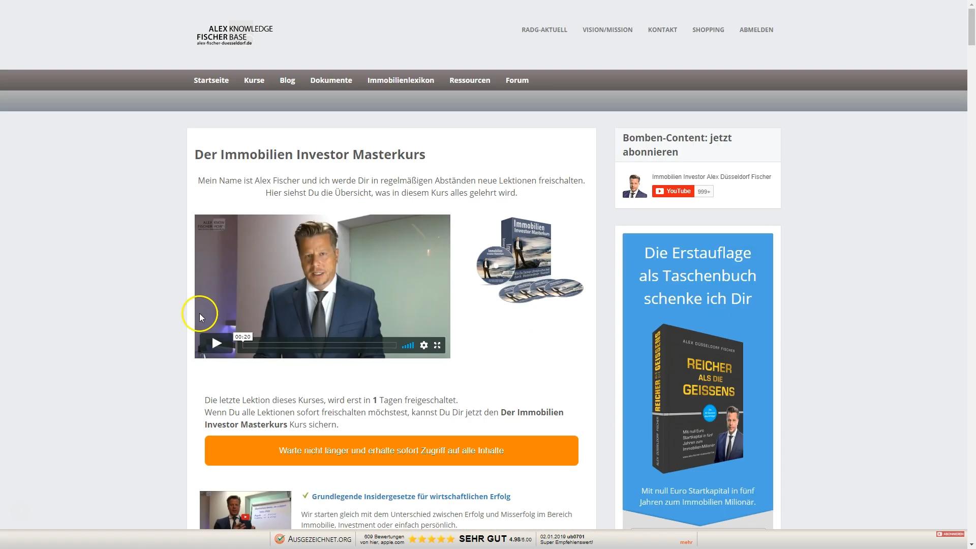 Immobilien Investor Masterkurs von Alex Fischer Erfahrungen